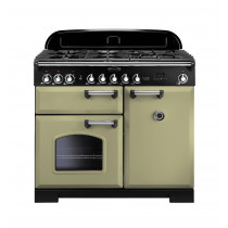Rangemaster Classic Deluxe 100 Dual Fuel Olive Green/Chrome Trim Range Cooker CDL100DFFOG/C 100910