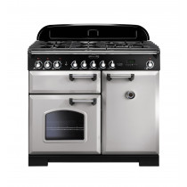 Rangemaster Classic Deluxe 100 Dual Fuel Royal Pearl/Brass Range Cooker