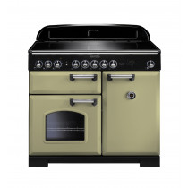 Rangemaster Classic Deluxe 100 Induction Olive Green/Chrome Trim Range Cooker CDL100EIOG/C 100920