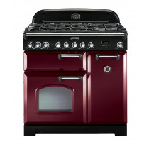 Rangemaster Classic Deluxe 90 Dual Fuel Cranberry/Chrome Range Cooker 84480
