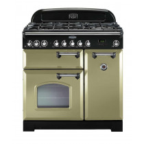 Rangemaster Classic Deluxe 90 Dual Fuel Olive Green/Chrome Trim Range Cooker CDL90DFFOG/C 100880