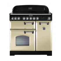 Rangemaster Classic Deluxe 90 Ceramic Cream/Chrome Range Cooker 81640