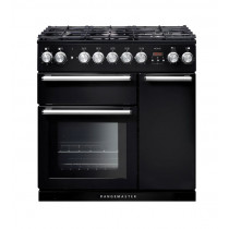Rangemaster Nexus 90 Dual Fuel Black Range Cooker 104680