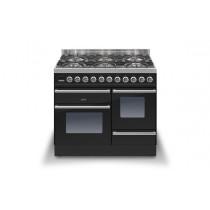 Ilve Roma 100 XG Dual Fuel Black Range Cooker (4 burner and Coup-de-feu)