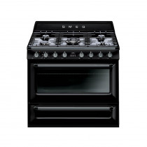 Smeg Victoria 90cm Gloss Black Dual Fuel Single Oven Range Cooker