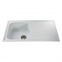 CDA 500mm Reversible Composite Single Bowl White Sink AS1WH