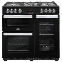 Belling Cookcentre 90cm Dual Fuel Black Range Cooker