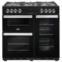 Belling Cookcentre 90cm Dual Fuel Black Range Cooker