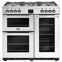 Belling Cookcentre 90cm Dual Fuel Professional Stainless Steel Range Cooker