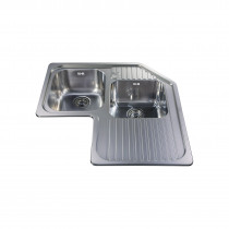 CDA Stainless Steel One And Three Quarter Bowl Corner Sink - CCP3SS