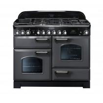 Rangemaster Classic Deluxe 110 Dual Fuel Range Cooker Slate/Chrome Trim CDL110DFFSL/C 12428
