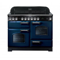 Rangemaster Classic Deluxe 110 Ceramic Range Cooker Regal Blue/Chrome Trim CDL110ECRB/C 114130