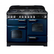 Rangemaster Classic Deluxe 110 Dual Fuel Range Cooker Regal Blue/Chrome CDL110DFFRB/C 112910