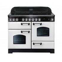 Rangemaster Classic Deluxe 110 Ceramic Range Cooker White/Chrome