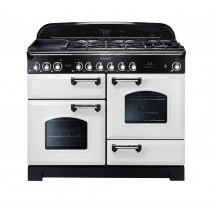 Rangemaster Classic Deluxe 110 Dual Fuel Range Cooker White/Chrome CDL110DFFWH/C 112930
