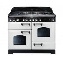 Rangemaster Classic Deluxe 110 Dual Fuel Range Cooker White/Chrome
