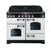 Rangemaster Classic Deluxe 110 Induction Range Cooker White/Chrome Trim CDL110EIWH/C 113110