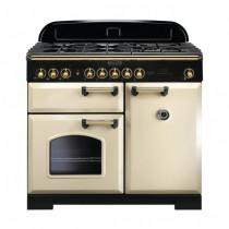 Rangemaster Classic Deluxe 100 Dual Fuel Cream/Brass Trim Range Cooker CDL100DFFCR/B 115550