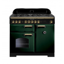 Rangemaster Classic Deluxe 100 Dual Fuel Racing Green/Brass Range Cooker 113820