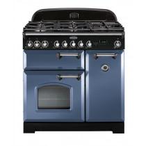 Rangemaster Classic Deluxe 100 Dual Fuel Stone Blue/Chrome Trim Range Cooker CDL100DFFSB/C 127400