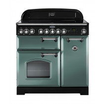 Rangemaster Classic Deluxe 100 Induction Mineral Green/Chrome Trim Range Cooker CDL100EIMG/C 127470