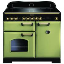Rangemaster Classic Deluxe 100 Induction Olive Green/Brass Range Cooker 114830
