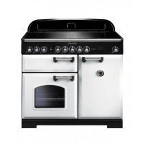 Rangemaster Classic Deluxe 100 Induction White/Chrome Trim Range Cooker CDL100EIWH/C 114030