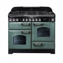 Rangemaster Classic Deluxe 110 Dual Fuel Range Cooker Mineral Green/Chrome CDL110DFFMG/C 127250