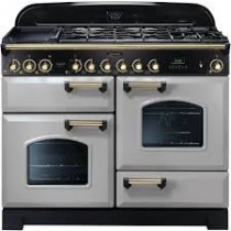 Rangemaster Classic Deluxe 110 Dual Fuel Royal Pearl/Brass Range Cooker Trim CDL110DFFRP/B 114480