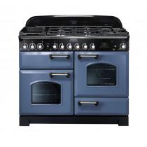 Rangemaster Classic Deluxe 110 Dual Fuel Range Cooker Stone Blue/Chrome CDL110DFFSB/C 127240