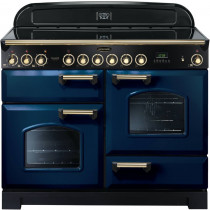 Rangemaster Classic Deluxe 110 Ceramic Range Cooker Regal Blue/Brass Trim CDL110ECRB/B 114140