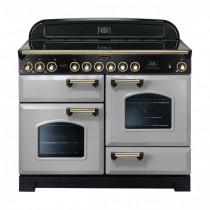 Rangemaster Classic Deluxe 110 Ceramic Range Cooker Royal Pearl/Brass Trim CDL110ECRP/B 114600
