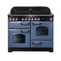 Rangemaster Classic Deluxe 110 Ceramic Range Cooker Stone Blue/Chrome Trim CDL110ECSB/C 127360