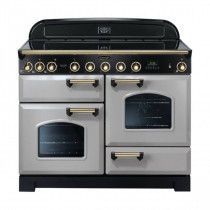 Rangemaster Classic Deluxe 110 Induction Range Cooker Royal Pearl/Brass Trim CDL110EIRP/B 114560