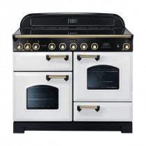 Rangemaster Classic Deluxe 110 Induction Range Cooker White/Brass Trim CDL110EIWH/B 113120