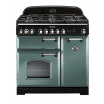 Rangemaster Classic Deluxe 90 Dual Fuel Mineral Green/Chrome Trim Range Cooker CDL90DFFMG/C 127510
