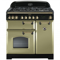 Rangemaster Classic Deluxe 90 Dual Fuel Olive Green/Brass Trim Range Cooker CDL90DFFOG/B 114630