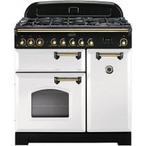 Rangemaster Classic Deluxe 90 Dual Fuel White/Brass Trim Range Cooker CDL90DFFWH/B 113560
