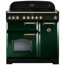 Rangemaster Classic Deluxe 90 Induction Racing Green/Brass Trim Range Cooker CDL90EIRG/B 113700