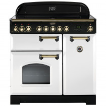Rangemaster Classic Deluxe 90 Induction White/Brass Trim Range Cooker CDL90EIWH/B 113740