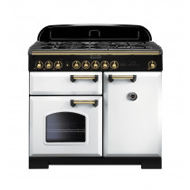 Rangemaster Classic Deluxe 100 Dual Fuel White/Brass Range Cooker 113860