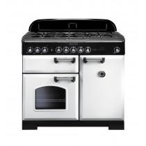 Rangemaster Classic Deluxe 100 Dual Fuel White/Chrome Range Cooker 113850