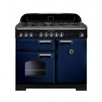 Rangemaster Classic Deluxe 100 Dual Fuel Regal Blue/Chrome Trim Range Cooker CDL100DFFRB/C 113830