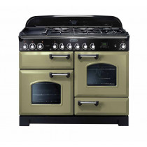 Rangemaster Classic Deluxe 110 Dual Fuel Olive Green/Brass Trim Range Cooker CDL110DFFOG/B 114470