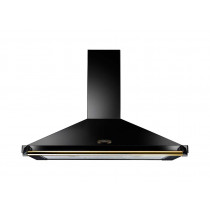 Rangemaster Classic 110cm Cooker Hood Black with Brass Rail CLAHDC110BB/ 89270