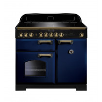 Rangemaster Classic Deluxe 100 Induction Regal Blue/Brass Range Cooker 114020