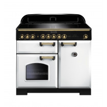 Rangemaster Classic Deluxe 100 Induction White/Brass Range Cooker 114040