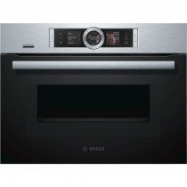 Bosch Serie 8 CNG6764S6B Brushed Steel Compact Oven with Microwave and Added Steam