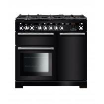 Rangemaster Encore Deluxe 100 Dual Fuel Black/Chrome Trim Range Cooker