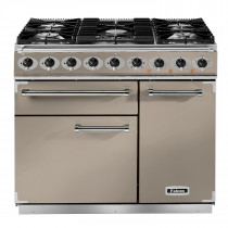 Falcon Deluxe 900 Dual Fuel Fawn/Nickel Range Cooker with Matt Pan Supports